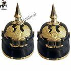 Combo German Prussian Leather Pickel haube helmet Imperial Officer helmet style