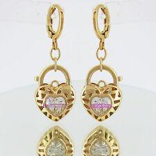 Real Solid 18k Yellow Gold GF Earring Hoop Drop Huggies Dangle Simulated Diamond