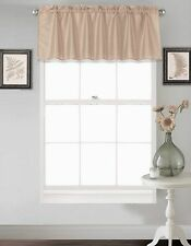 S18 1PC Solid Taupe Faux Silk Window Straight Plain Valance Topper Waterfall