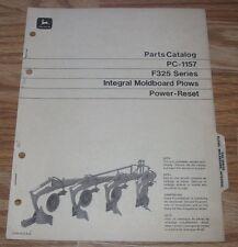 Original John Deere F325 Plow Power Reset Parts Catalog Manual  PC1157  1972  jd