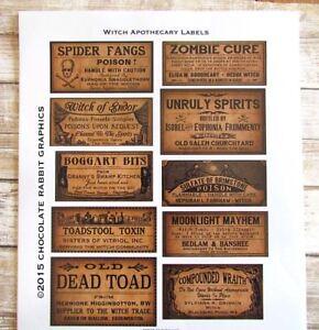 Halloween Potion Bottle Labels, Uncut Label Stickers Set of 10