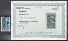 Saargebiet 1,50 F. Volkshilfe 1927** Plattenfehler IV Michel 125 Befund (S11307)