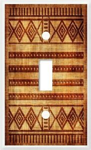 AFRICAN CLOTH DESIGN BROWN # 25  HOME DECOR LIGHT SWITCH COVER PLATE U PICK SIZE