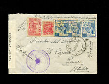 Spain Spanish Civil War April 1937 Airmail to Italy with postal fiscals censored