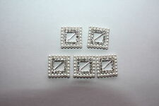 5 x  WHITE PEARL & DIAMANTE SQUARE BUCKLES SLIDERS 18mm CARDS CRAFT WEDDING