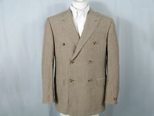 NEW $1495 Hickey Freeman Wool Linen Double Breasted Suit! 44 Pinstripe  USA Made