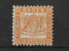 BADEN 1862-65 30k orange P10 MINT MH