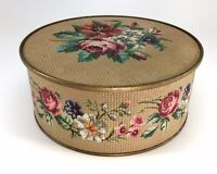Vintage 1940s Guildcraft New York Floral Textured Round Tin Storage Container
