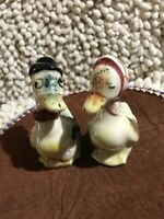 Vintage Japanese Hat-Wearing Duck Salt And Pepper Shakers