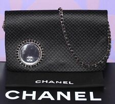 CHANEL Quilted Satin Wristlet Clutch Evening Shoulder Flap Bag Chain Mirror RARE