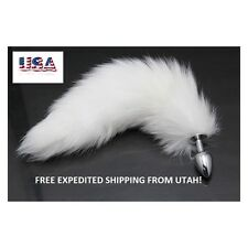 3 day delivery! Small Stainless Steel White Fox Tail Butt Plug.