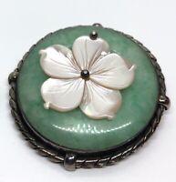 Vintage Sterling Silver Brooch Pin 925 Heavy Flower Round Circle Jade
