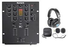 Numark M2 2-Channel DJ Scratch Mixer w/ 3-Band EQ, Black + Headphones + Case