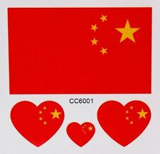 CHINA CHINESE FLAG TEMPORARY TATTOOS (BRAND NEW) 60mm X 60mm