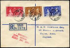 BERMUDA KG6 1937 CORONATION FIRST DAY COVER REGISTERED...CROWHURST ENVELOPE