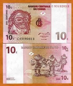 Congo D. R. 10 centimes, 1997, P-82 UNC