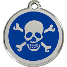 Skull & Crossbones Personalised Dog Cat ID Identity Tags / Discs Red Dingo (1XB)