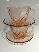 Vintage Tea/Coffee Cup, Saucer Pink Swirl, Rosaline Arcoroc France Set of 2
