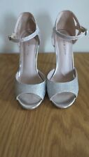 SILVER SPARKLY SHOES SIZE 3 PEEP TOES SANDALS HIGH HEELS