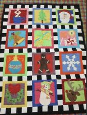 Christmas Holiday Cheery Quilted Blanket Throw Bedding Guc Seasonal Penny Ships!