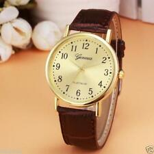Ladies Fashion Gold Geneva Quartz Platinum Gold Faced Brown Band Wrist Watch.