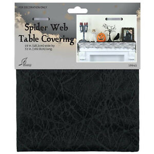 19in x 72in Haunted Halloween Gothic Spider Web Lace Party Table Runner Cover