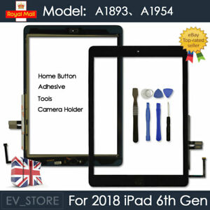 For 2018 iPad 6th Gen A1893 A1954 Touch Screen Digitizer Replacement Black + IC