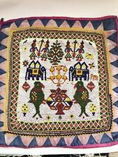 More details for vintage kathi beadwork tapestry beaded embroidery wall hanging indian handicraft