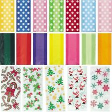 Party Cellophane Bags Cello Loot Gift Bag Sweet Treat Clear Patterned Christmas