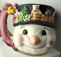 Large Snowman Coffee Cocoa Mug Black Hat 20 oz Vintage 1990s In original Box