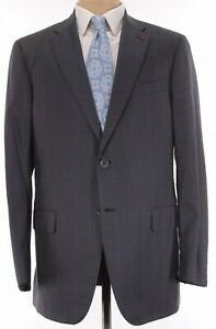 ISAIA NWT Suit Size 44L In Gray W/ Wide Bankers Stripe 160's Wool Base S $4,250