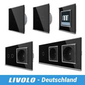 LIVOLO Lichtschalter Steckdosen Dimmer Wechselschalter aus Glas Touch Schwarz