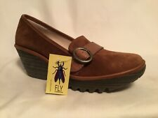 FLY London Suede Wedge Loafers - Yond Camel 419.5-10)