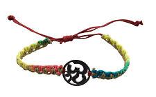 Bracelet bresilien ethnique multicolore Om hindu fil rouge Ø 19mm - 25651