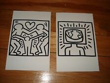 Set of 2 Keith Haring black and white postcards Barnes Noble POP contest RARE!