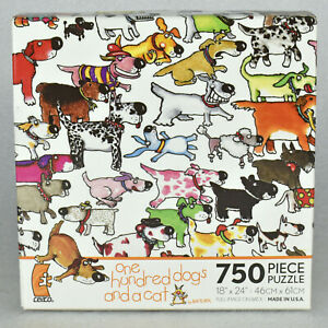 """Ceaco - One Hundred Dogs and A Cat - 750 Piece Jigsaw Puzzle 18x24"""" USA SEALED"""