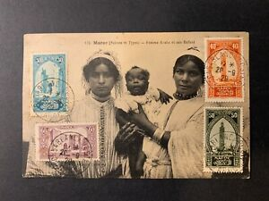 French Maroc / Morocco - Women w. infant PPC multifranked tied Casablanca 1929