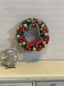 Artisan Beautiful Merry Christmas Wreath Dollhouse Miniature 1:12