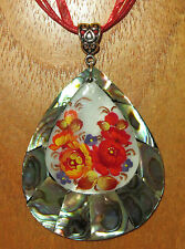 SHELL PENDANT  ABALON Zhostovo FLOWERS CHRISTMAS ART Russian UNIQUE hand painted