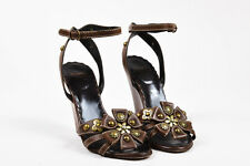 Moschino Cheap and Chic Brown Grain Leather Floral Studded Wedge Sandals SZ 35