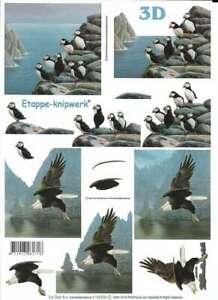Birds -Swan,Penguin,Eagle,Puffin,Gull,Finch etc 2*Non-die-cut Le Suh Decoupage