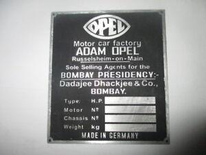 Nameplate opel Classic Car Shield Bombay Indian Mumbay Dadajee Dhackjee S33
