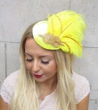 Yellow Gold Statement Feather Fascinator Hair Clip Hat Races Headpiece Vtg 2595