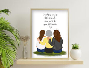 Personalised Mother and Daughter Character Print. Gift for Mother's Day Birthday