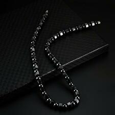 "Beads Strand Choker Necklace Magnet Clasp 19"" Men Women Black Hematite Magnetic"