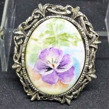 60's Vintage Signed Pat Shulz Hand Painted Cabochon Silver Oxidized Brooch Pin