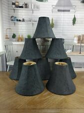 8 Chandelier Lamp Shades Black Fabric Scroll Gold Lined Clip On 3x5.5x7