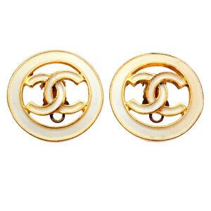 Authentic Vintage Chanel earrings white CC logo round #ea3012