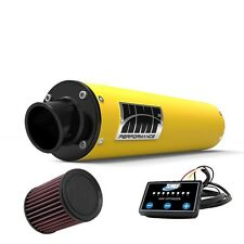 HMF Performance Slip On Exhaust Yellow Black End Cap EFI Optimizer K&N LTZ 400