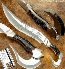 IMPACT CUTLERY RARE CUSTOM D2 FULL TANG FIGHTER SHARK BOWIE KNIFE BULL HORN